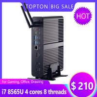 Fanless Mini PC Intel Core i7 8565U/7560U i5 8265U/7260U M.2+Msata+2.5'' SATA Computer HTPC Nettop HDMI DP VESA Bracket Optional