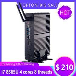 Sin ventilador Mini PC Intel Core i7 10510U/8565U i5 8265U/7260U M.2Msata + 2,5 SATA computadora HTPC Nettop Nuc VGA DP HDMI soporte VESA