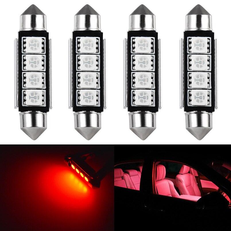 Светодиодный светильник с Canbus 4x C5W C10W 5050 SMD, красный, белый 41 мм 42 мм, купольный светильник для чтения, лампа для салона автомобиля, светильник ...
