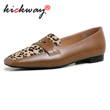 Spring Shoes Flats-Loafers Comfortable Leopard Genuine-Leather Patchwork Casual Women