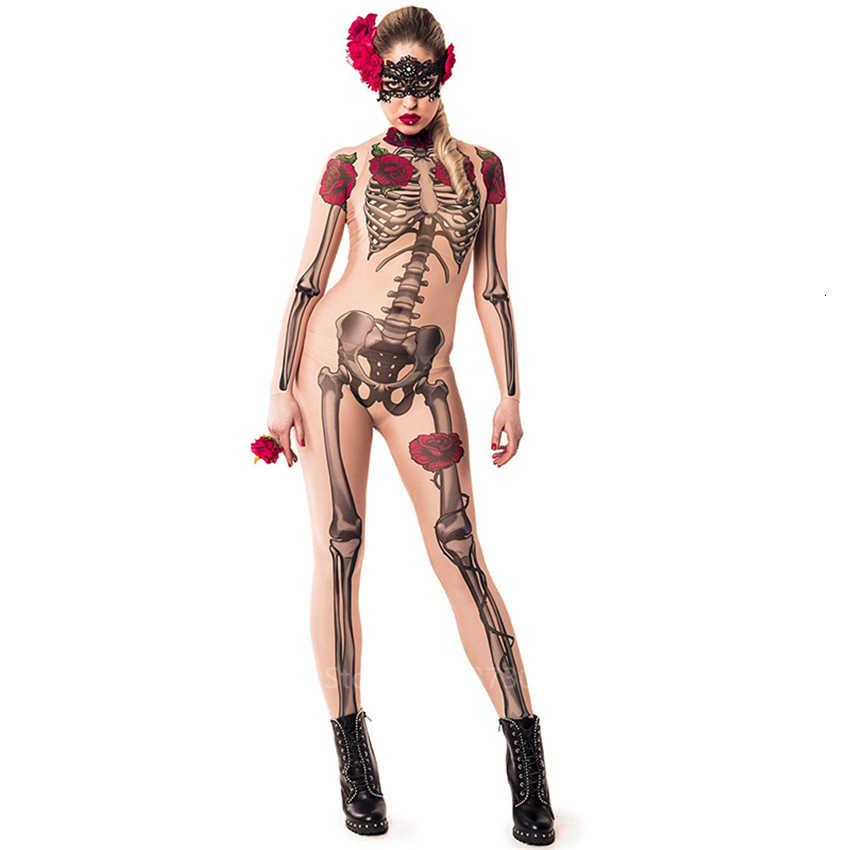 Rose Skull Halloween vestido mujer Día de los muertos esqueleto espeluznante disfraz Spooky Fancy Horror mono carnaval fiesta Zombie Pantalones