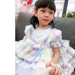 2020 летнее испанское платье одежда для маленьких девочек кружевное Сетчатое платье с вышивкой для девочек платье принцессы с короткими рука...