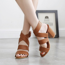 Women fashion square high heels sandals