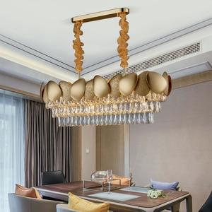 Image 3 - الفاخرة الحديثة كريستال الثريا لغرفة الطعام تصميم المطبخ جزيرة سلسلة تركيبة إضاءة مصباح الذهب ديكور المنزل كريستال