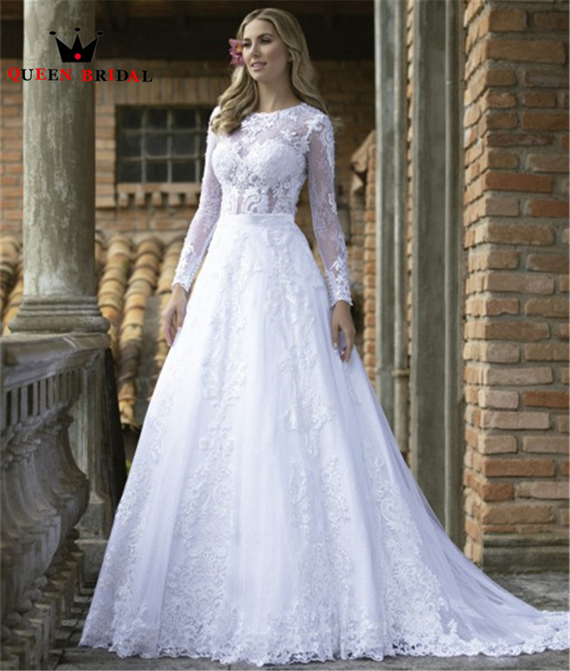 2020 New Design Wedding Dresses Mermaid Detachable Skirt Long Sleeve Tulle Lace Appliques Sexy Wedding Gowns Custom Made NO18
