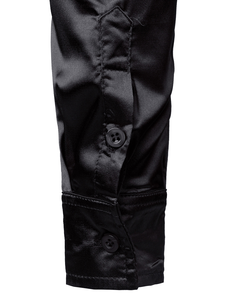 Men's Black Satin Luxury Dress Shirts 2019 Silk Smooth Men Tuxedo Shirt Slim Fit Wedding Party Prom Casual Shirt Chemise Homme 5