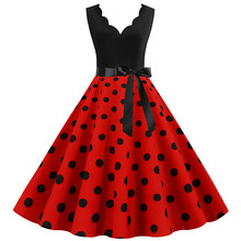 Summer Dress Robe Polka-Dot Midi Vintage Women Plus-Size Casual Sleeveless Patchwork