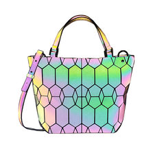 Crocrogo Women's Laser Geometric Luminous Reflective Shoulder Hand Tote Bag Fashion Lattice Travel Casual Shopping Beach Purse