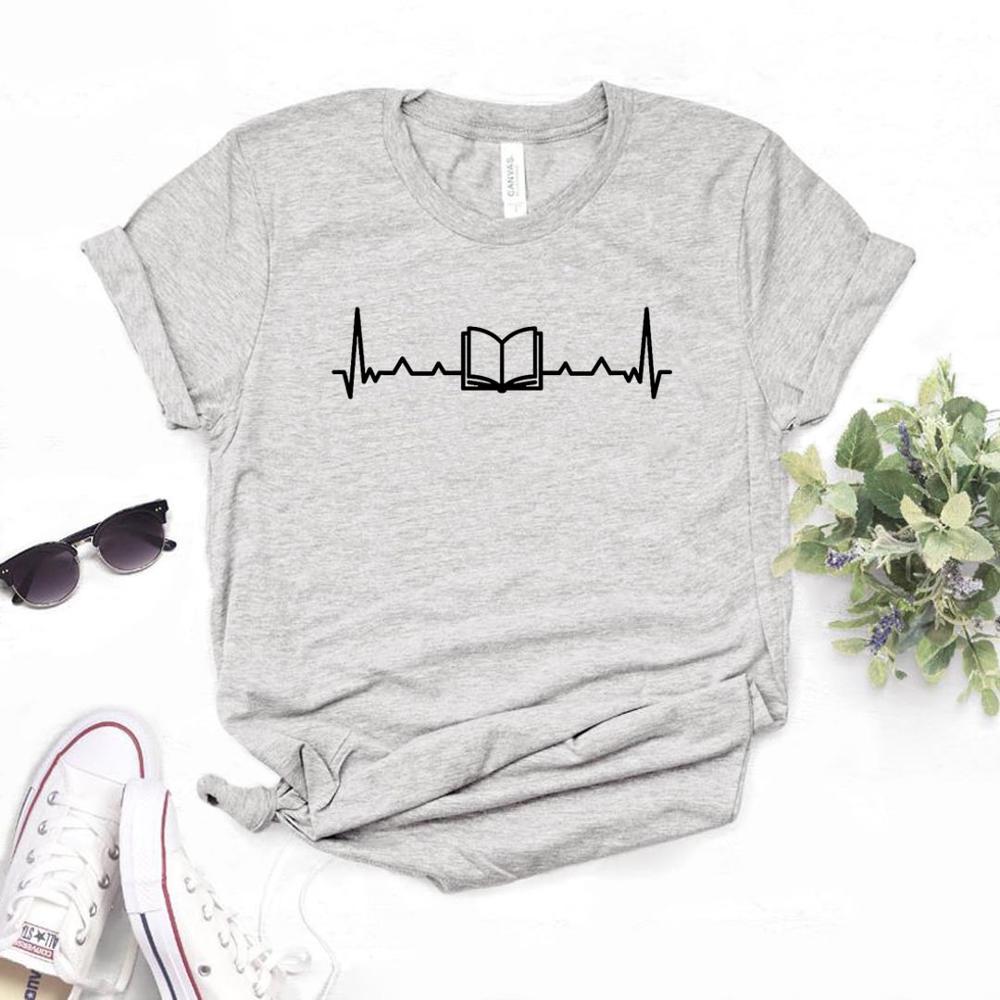 Book Heartbeat Print Women Tshirt Cotton Casual Funny T Shirt For Yong Lady Girl Top Tee 6 Colors Drop Ship NA-410