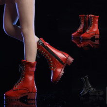 19XG43 1/6 Scale Female Zipper Leather Boots Hollow Shoes for 12 Inches Action Figures Fashion Boots 3 Color