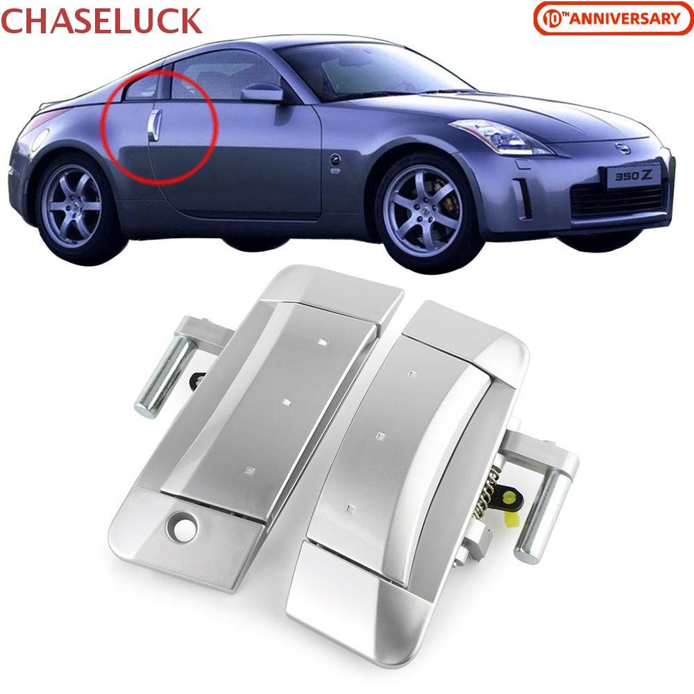 Outside Door Handles Pair Chrome Metal Front Left Driver Right Passenger