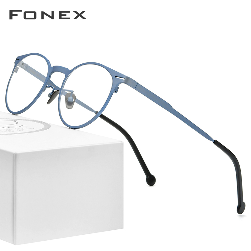 FONEX Pure Titanium Glasses Frame Men Retro Round Prescription Eyeglasses Frame Optical Myopia Eyewear Eye Glass For Women 8510