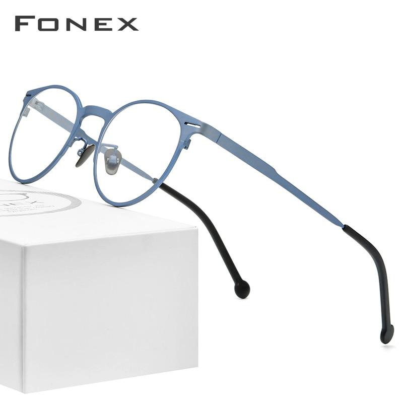 FONEX Pure Titanium Glasses Frame Men Retro Round Prescription Eyeglasses Frame Optical Myopia Eyewear Eye Glass For Women 8510