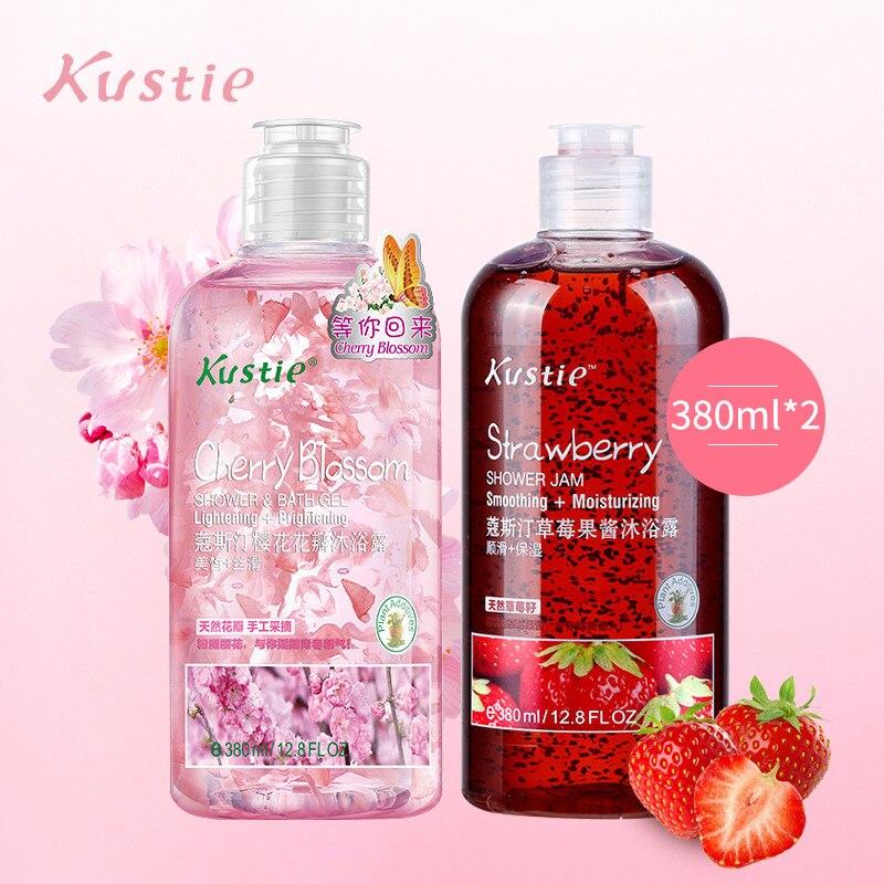 Kustie Strawberry Cherry Body Wash Natural Organic Whitening Body Safe Autumn Winter Moisturizing 380ml + 380ml  Shower Gel Set