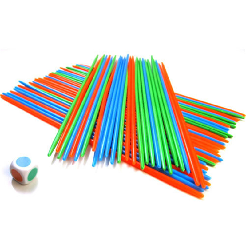 100PCS Pick-Up Sticks Game With Dice Classic Desktop Game Multicolor Team Party Game Hand And Eyes Practice Toys