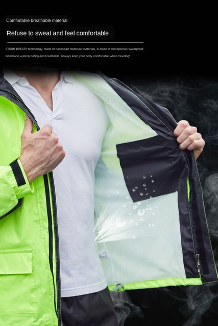 Green Motorcycle Raincoat Rain Pants Suit Thin Riding Split Poncho Adult Men Hiking Anti-Heavy Rain Jacket Casaco Masculino Gift 3