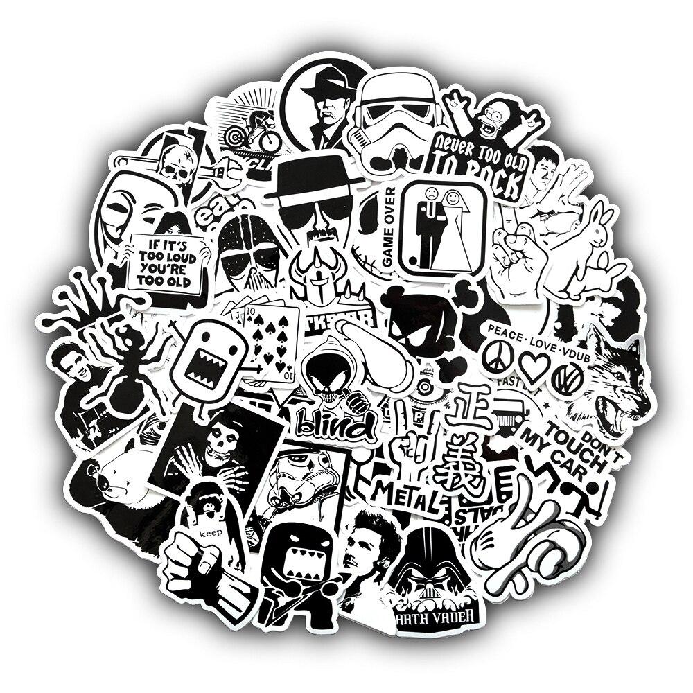 50 шт. Черный и белый для наклейки для ноутбука скейтборд велосипед мотоциклетная куртка в стиле панк JDM формы машинок стикеры наклейки Bomb
