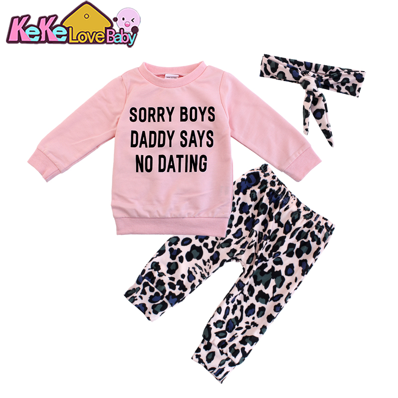 Newborn Infant Baby Girl Clothes Sets Fashion Pink Tops Letter Printed Leopard Print Pants Headband 3PCS Outfit Girls Clothing