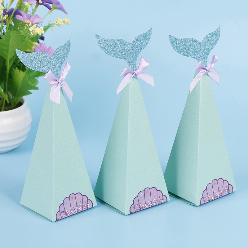 10Pcs Little Mermaid Gift Boxes Sweet Paper Candy Box Mermaid Birthday Party Decorations Kids Favor Boxes For Wedding-1