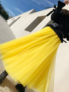 Image 4 - סתיו חורף ארוך במיוחד רשת תחרה בציר חצאית התרחבות נשים צהוב טול אלסטי מותניים חוף נסיעות כדור גדולה נדנדה חצאיות
