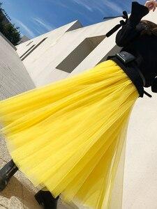 Image 4 - ฤดูใบไม้ร่วงฤดูหนาวยาวตาข่ายลูกไม้Vintageขยายกระโปรงผู้หญิงสีเหลืองTulle ElasticเอวBeach Ballกระโปรงแกว่งใหญ่