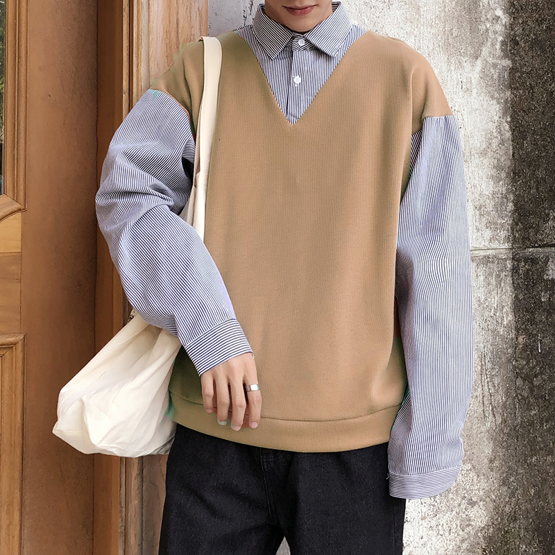 Autumn Fake Two-piece Shirt Men's Fashion Sweater Stitching Casual Lapel Long-sleeved Shirt Men Streetwear Loose Male Clothes