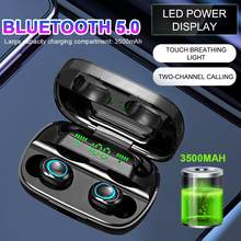 S11-TWS Bluetooth 5.0 Earphone Wireless Dual In-Ear Digital Display Stereo Sports Waterproof Headsets With 3500mAh Charger Box(China)
