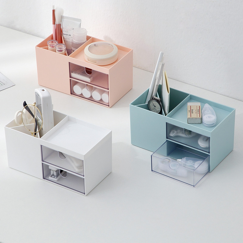 Nordic Style Multifunctional Plastic Pen Holder Desk Organizer Cosmetic Storage Box Desktop Drawer Storage Organizer Sundries