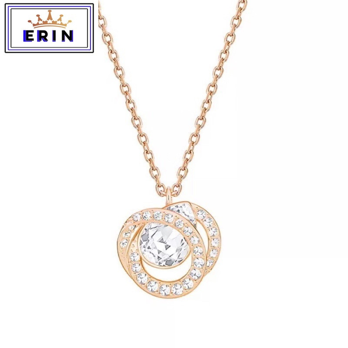 ERIN  High quality SWA, fashion button double  pendant women's spiral crystal all-around Chain Necklace