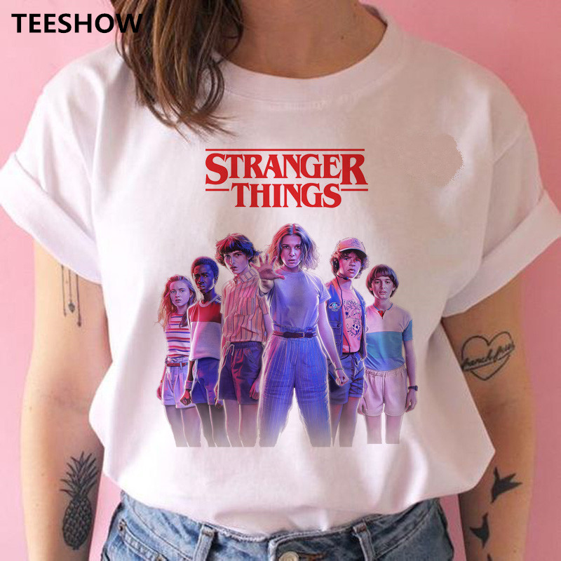 Stranger Things Season 3 T Shirt Women Upside Down Print T-shirt Eleven Female T-shirt  Tee Shirts Funny Clothing