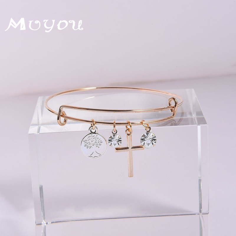 Expandable Cross Crystal Tree of Life Pendant Bangles Women Lady Adjustable Bangle Bracelet for Fashion Gifts