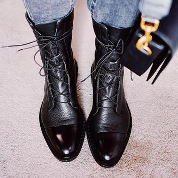 Botas planas de charol para mujer, botas planas de estilo británico, botas en Punta Negra, botas de moto guapas, novedad