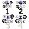 6Pcs Birthday Balloon 40inch Party Astronaut Number Foil Balloon Happy Birthday Party Decor Kids Outer Space Party Helium Globos