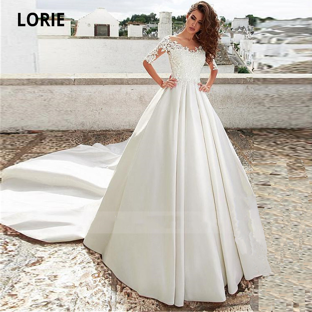 LORIE 2020 New Spring Lace Satin Wedding Dresses Simple Half Sleeve Scoop Beach Boho Bridal Gowns In Turkey Plus Size Long Train