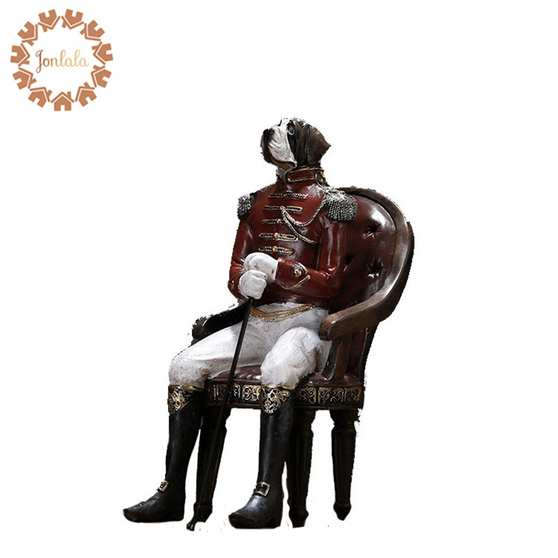 Elegant General Admiral Dog Creative Personality Bulldog Dog Resin Dog Ornaments Figurine Statue Artificial Best Gift