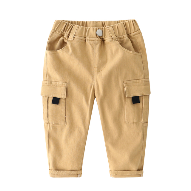Mudkingdom Boys Cargo Pants Chino Solid Causal Cotton Trousers for Kids 2