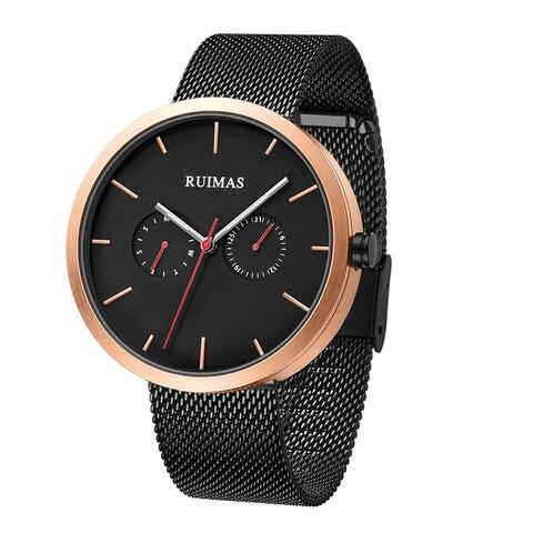 Relógio de Pulso Relógio Marca Superior Esporte Aço Inoxidável Completo Ouro Movimento Quartzo 2 Olhos Masculino Luxo Men