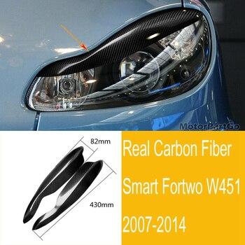 Real Crabon Fiber Head light Eyelid Eyebrow Cover Trim 1pair for Smart  W451 2007-2014 m205 1