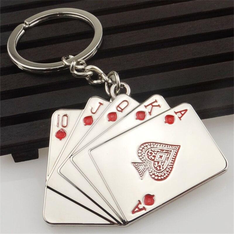 Lucky Hand Straight Flush Poker Cards Keychain Bag Charm Keyring Men Women