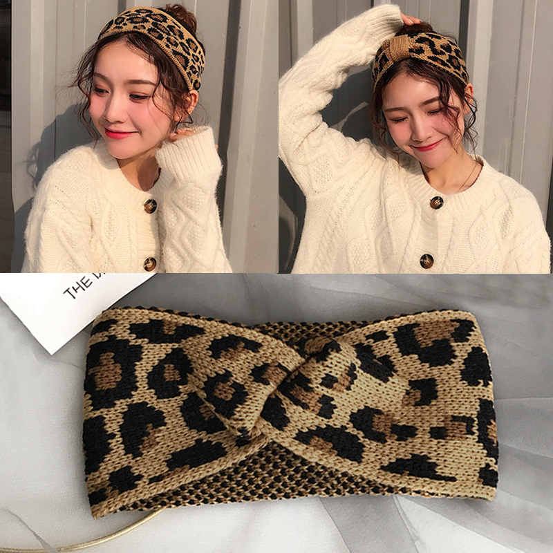 2019 New Fashion Winter Warmer Knitted Headbands For Women Leopard Bowknot Turban Crochet Wide Chic Hair Styling Accessories