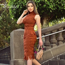 VC All Free Shipping Trendy Plaid Design Two Pieces Suit Tassels Celebrity Party Bandage Brown Tops Skirt Suit
