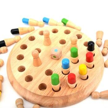 Palo de ajedrez con memoria de madera para chico, juguetes educativos, entrenamiento...