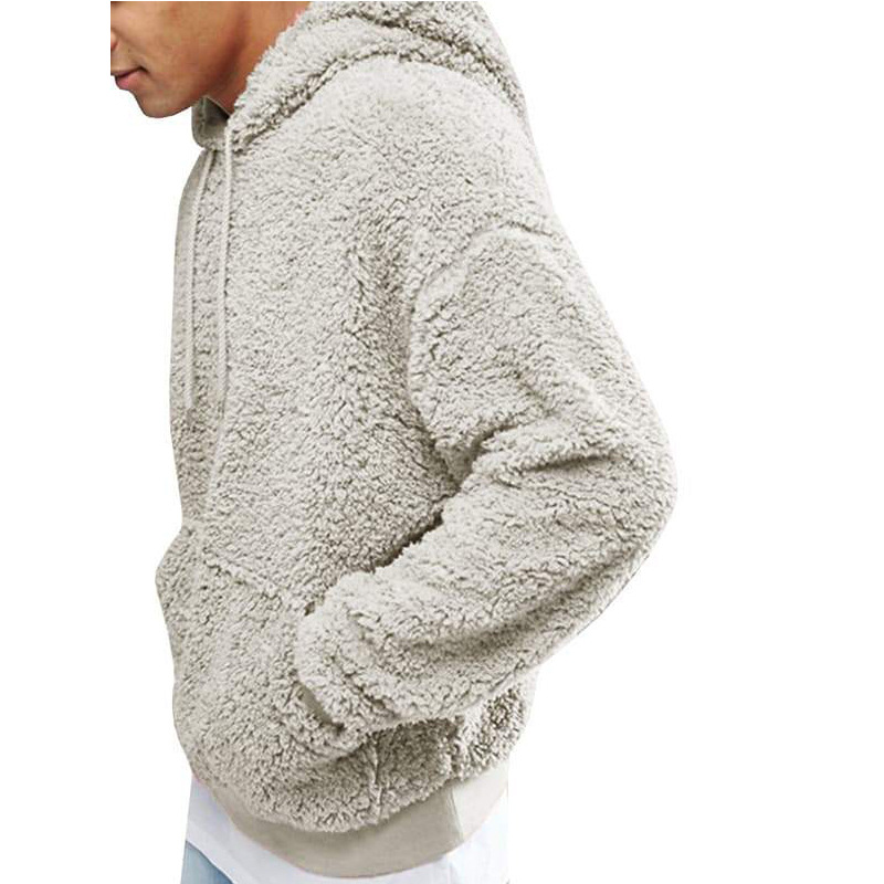 Hooded Sweatshirts Spring Faux-Fur Long-Sleeve Plush Autumn Male Winter Solid-Color Mens