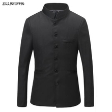 Solid Color Black Tunic Suit Jacket Men Mandarin Collar Chinese Style Traditional Single Breasted Tang Costume Male Coat