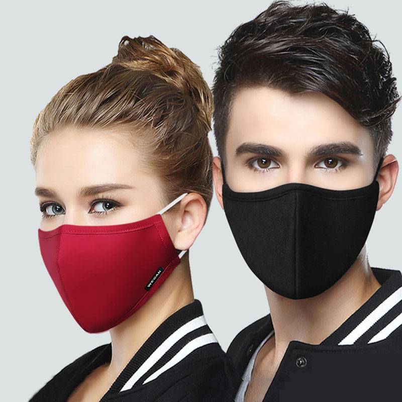 Korean Cotton Mouth Face Mask Anti-Dust Mask Respirator With 2 Activated Carbon Filter Anti Dust Black Kpop Mask On The Mouth