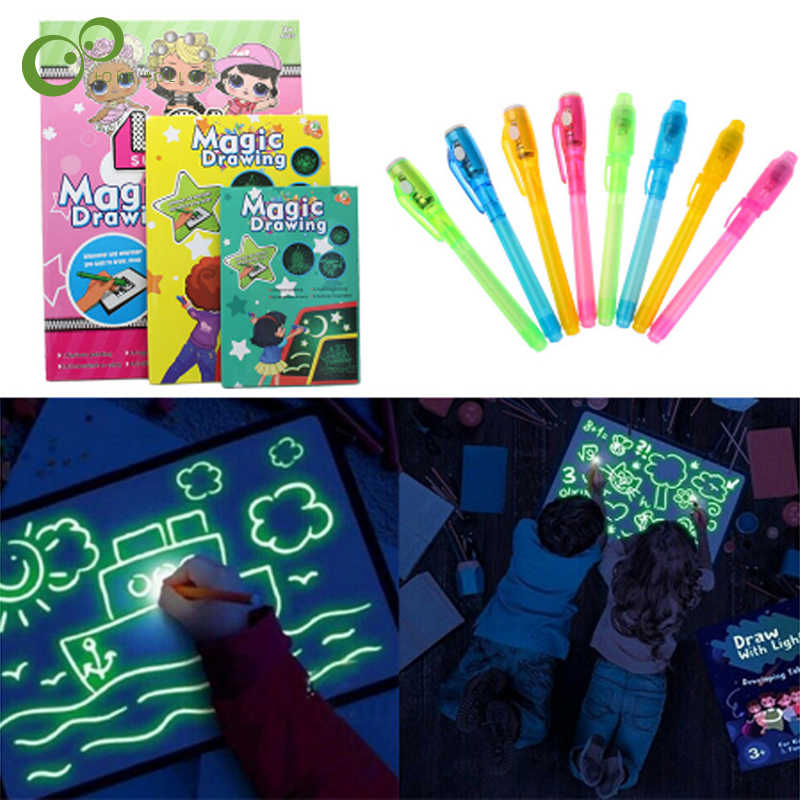 3D Pittura Bordo Lavagna Luminosa Per Bambini Magia Luminosa Fluorescente Bordo Bambino Dawing Ty Di Puzzle FAI DA TE Dawing Bordo LXX