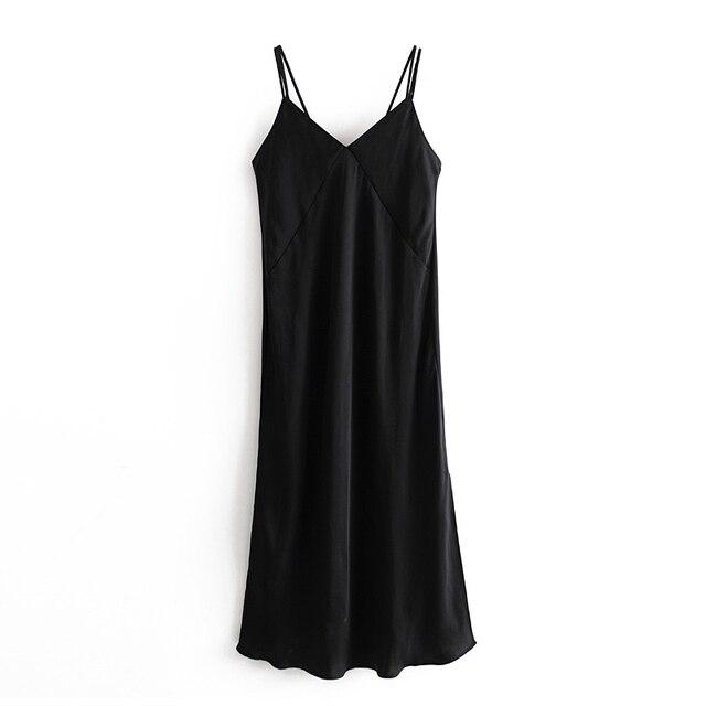 Tangada fashion women silk look black dress backless sleeveless ladies vintage midi dress vestidos 3H244 7