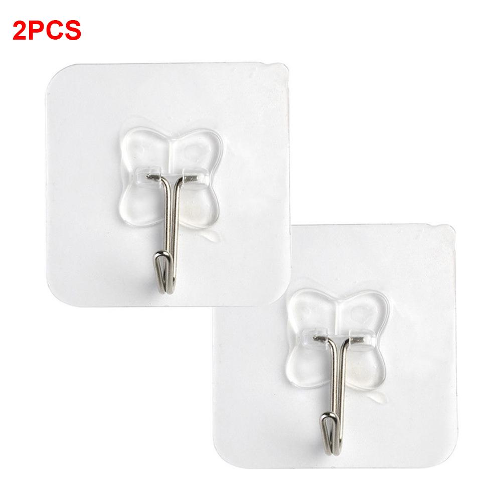 2PCS Hook Strong Transparent Suction Wall Sucker Hanger Waterproof Adhesive Heavy Load Rack Stainless Steel Hook Cintre Cabide