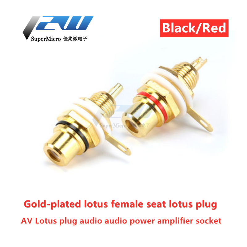 2pcs/lot  Lotus Female Base AV Plug RCA Lotus Female Socket Audio Amplifier Gold Plated Red / Black