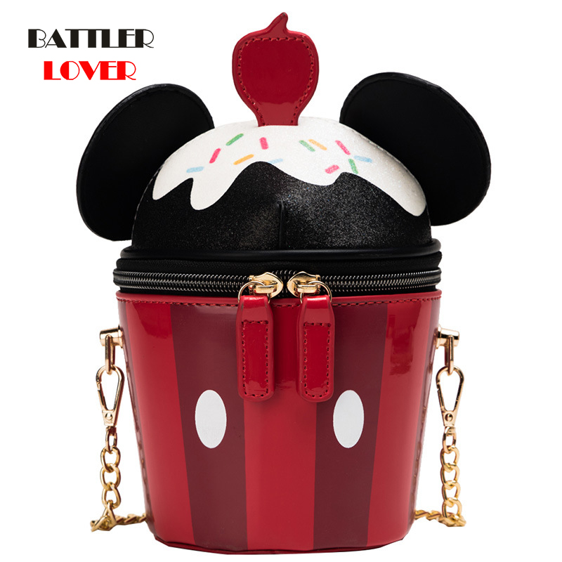Creative Style Womens Hamburger Ice Cream Shoulder Bags Cupcake PU Chains Bags Cute Hamburger Popcorn 3D Bucket Messenger Bags